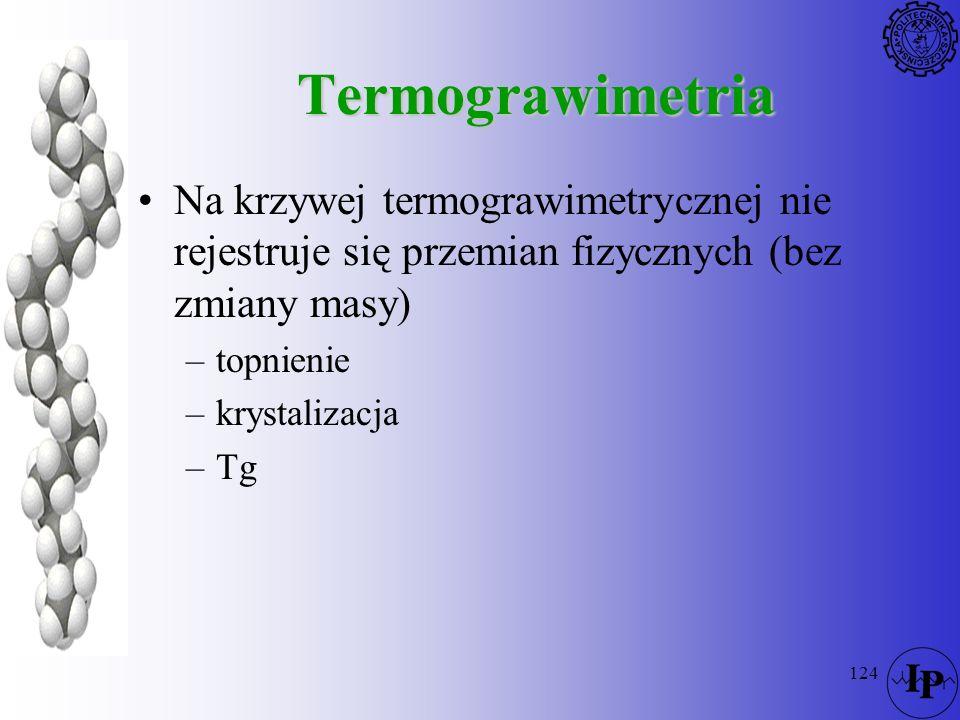 124 Termograwimetria Na krzywej termograwimetrycznej nie rejestruje się przemian fizycznych (bez zmiany masy) –topnienie –krystalizacja –Tg