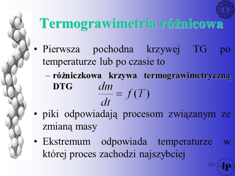 133 Termograwimetria różnicowa Pierwsza pochodna krzywej TG po temperaturze lub po czasie to –różniczkowa krzywa termograwimetryczną DTG piki odpowiad