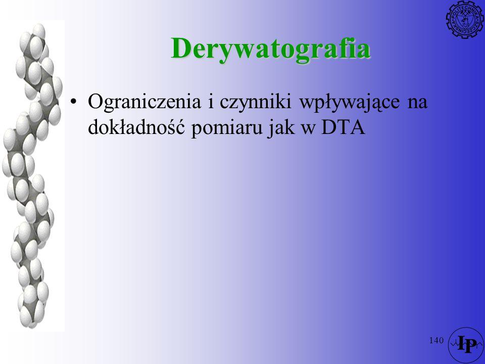 140 Derywatografia Ograniczenia i czynniki wpływające na dokładność pomiaru jak w DTA