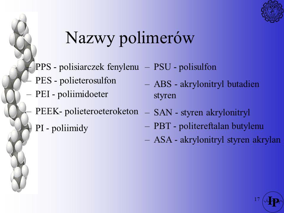 17 Nazwy polimerów –PPS - polisiarczek fenylenu –PES - polieterosulfon –PEI - poliimidoeter –PEEK- polieteroeteroketon –PI - poliimidy –PSU - polisulf