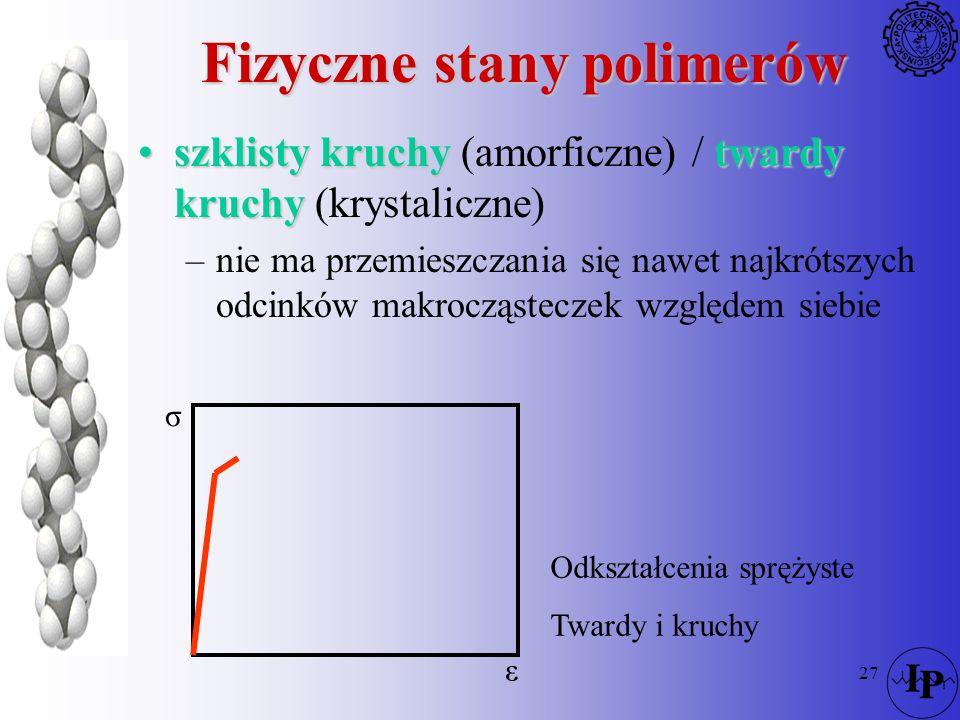 27 Fizyczne stany polimerów szklisty kruchytwardy kruchyszklisty kruchy (amorficzne) / twardy kruchy (krystaliczne) –nie ma przemieszczania się nawet