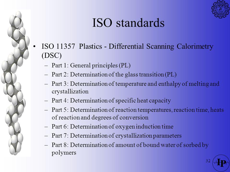 32 ISO standards ISO 11357 Plastics - Differential Scanning Calorimetry (DSC) –Part 1: General principles (PL) –Part 2: Determination of the glass tra
