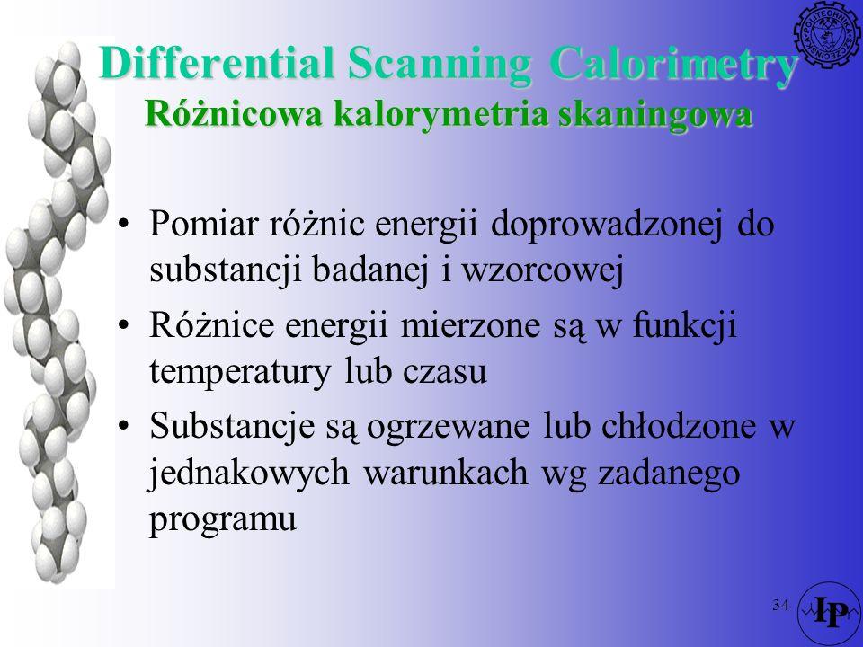 34 Differential Scanning Calorimetry Różnicowa kalorymetria skaningowa Pomiar różnic energii doprowadzonej do substancji badanej i wzorcowej Różnice e