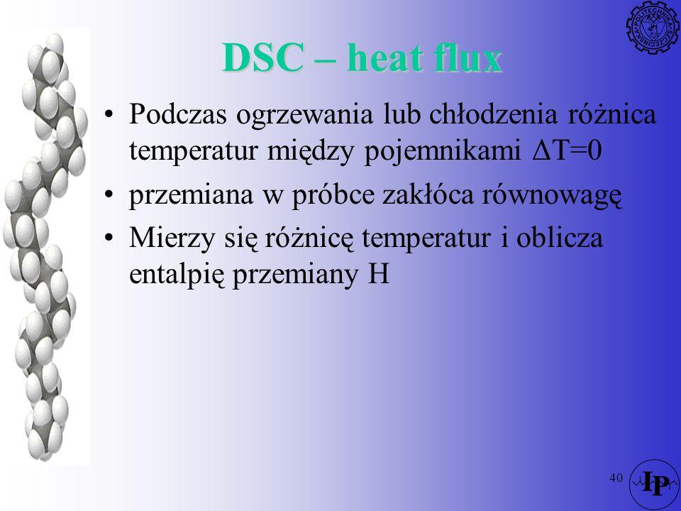 40 Podczas ogrzewania lub chłodzenia różnica temperatur między pojemnikami ΔT=0 przemiana w próbce zakłóca równowagę Mierzy się różnicę temperatur i o