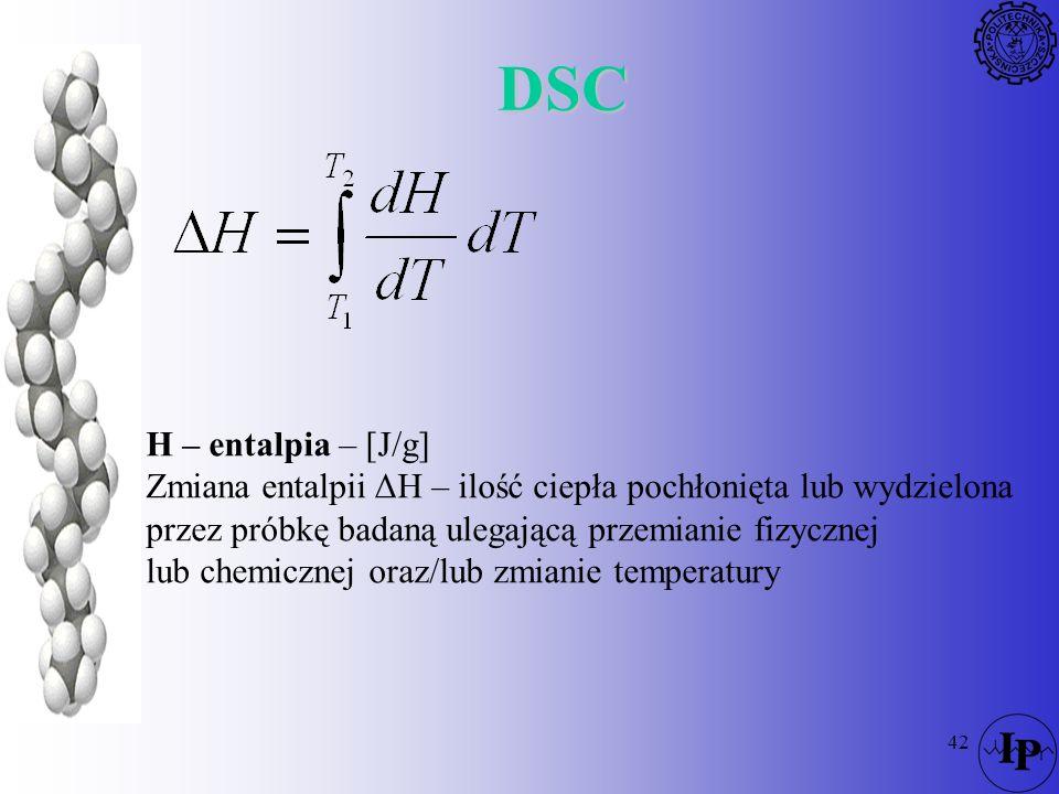 42 DSC H – entalpia – [J/g] Zmiana entalpii ΔH – ilość ciepła pochłonięta lub wydzielona przez próbkę badaną ulegającą przemianie fizycznej lub chemic