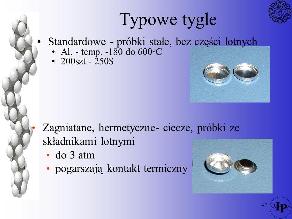 47 Typowe tygle Standardowe - próbki stałe, bez części lotnych Al. - temp. -180 do 600 o C 200szt - 250$ Zagniatane, hermetyczne- ciecze, próbki ze sk