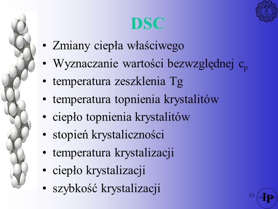 53 DSC Zmiany ciepła właściwego Wyznaczanie wartości bezwzględnej c p temperatura zeszklenia Tg temperatura topnienia krystalitów ciepło topnienia kry