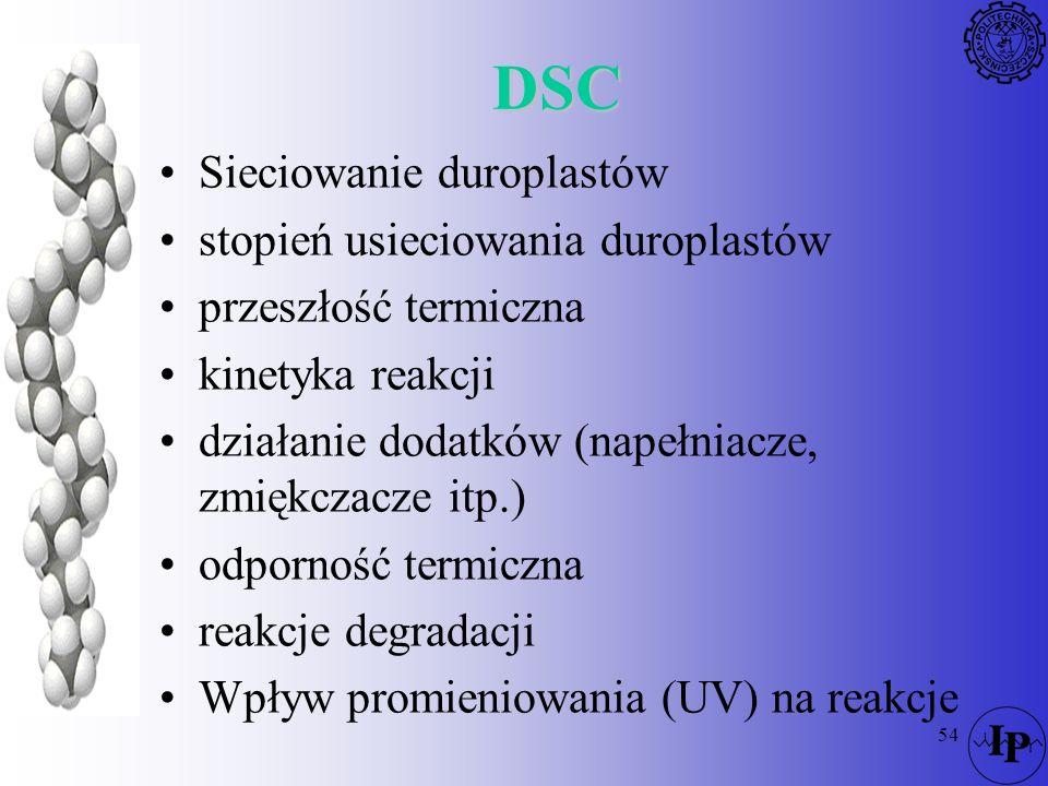 54 DSC Sieciowanie duroplastów stopień usieciowania duroplastów przeszłość termiczna kinetyka reakcji działanie dodatków (napełniacze, zmiękczacze itp