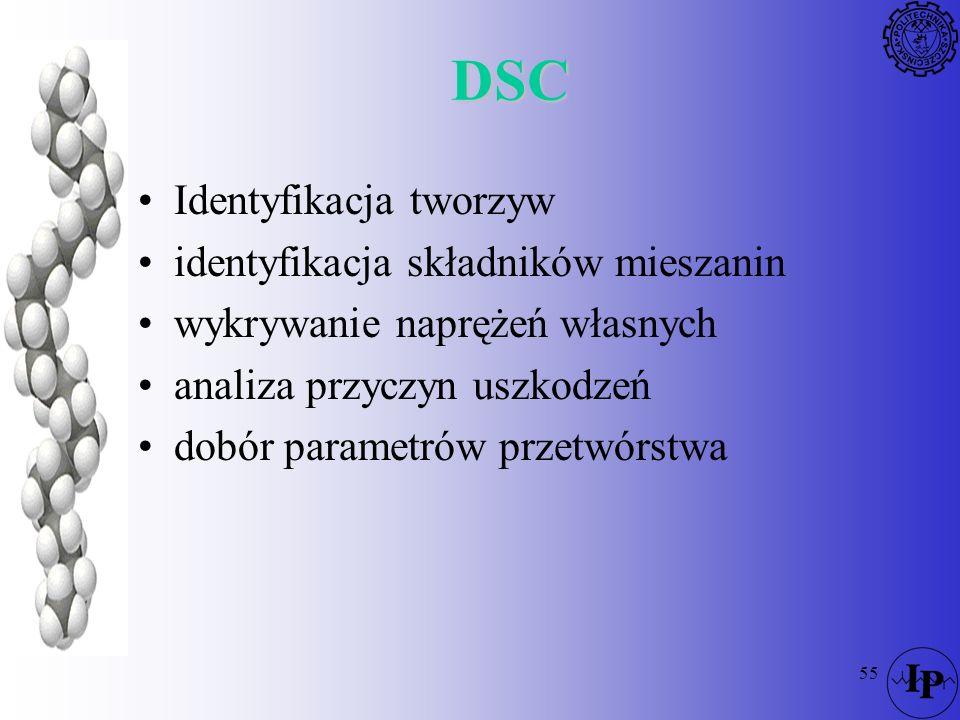 55 DSC Identyfikacja tworzyw identyfikacja składników mieszanin wykrywanie naprężeń własnych analiza przyczyn uszkodzeń dobór parametrów przetwórstwa
