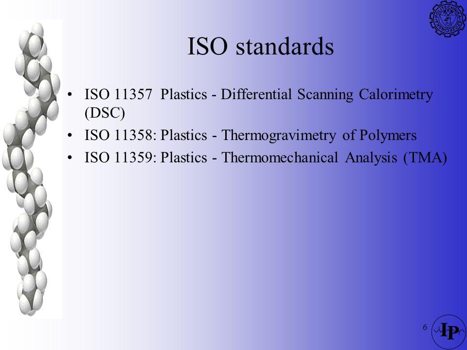 6 ISO standards ISO 11357 Plastics - Differential Scanning Calorimetry (DSC) ISO 11358: Plastics - Thermogravimetry of Polymers ISO 11359: Plastics -