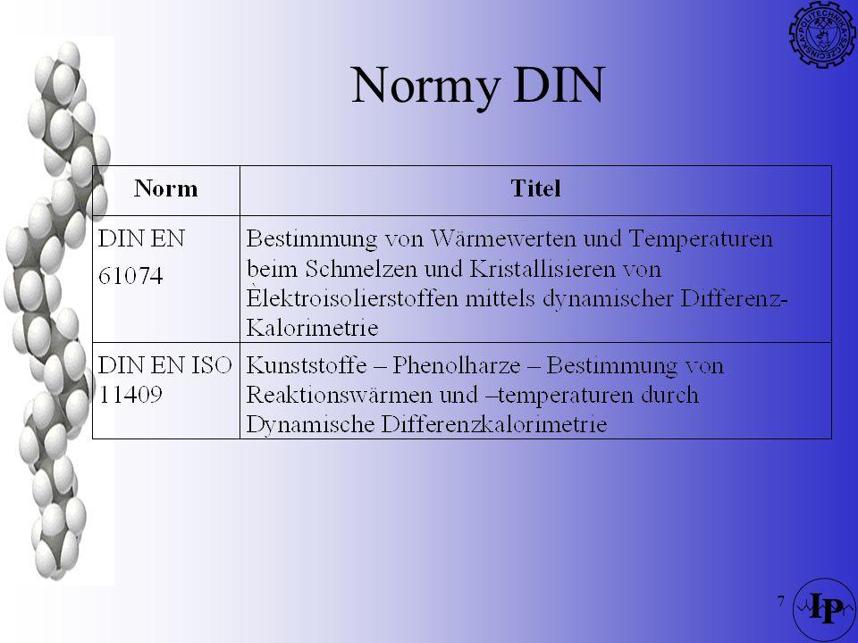 118 DTA –Szybkość ogrzewania –atmosfera pieca, ciśnienie (reakcje między produktami rozkładu a atmosferą) Trudność w interpretowaniu krzywych Konieczność stosowania substancji wzorcowych