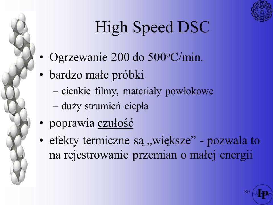 80 High Speed DSC Ogrzewanie 200 do 500 o C/min. bardzo małe próbki –cienkie filmy, materiały powłokowe –duży strumień ciepła poprawia czułość efekty