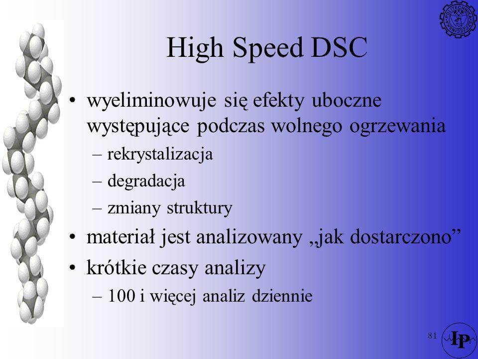 81 High Speed DSC wyeliminowuje się efekty uboczne występujące podczas wolnego ogrzewania –rekrystalizacja –degradacja –zmiany struktury materiał jest