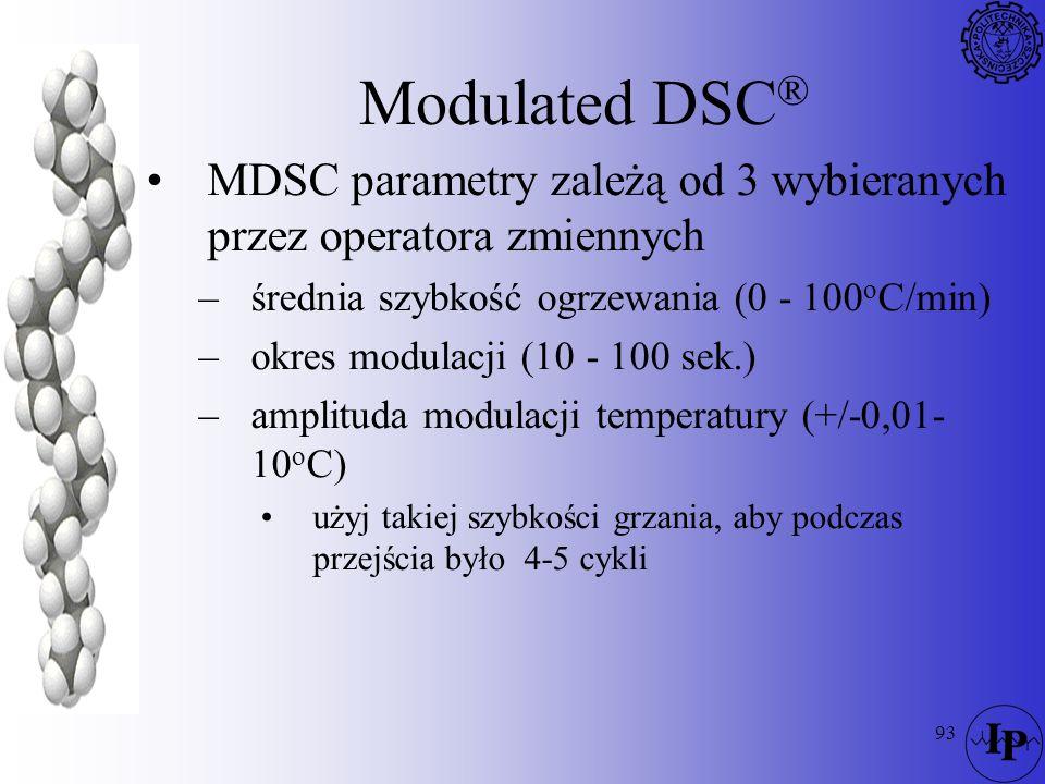93 Modulated DSC ® MDSC parametry zależą od 3 wybieranych przez operatora zmiennych –średnia szybkość ogrzewania (0 - 100 o C/min) –okres modulacji (1