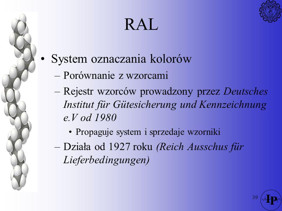 39 RAL System oznaczania kolorów –Porównanie z wzorcami –Rejestr wzorców prowadzony przez Deutsches Institut für Gütesicherung und Kennzeichnung e.V o
