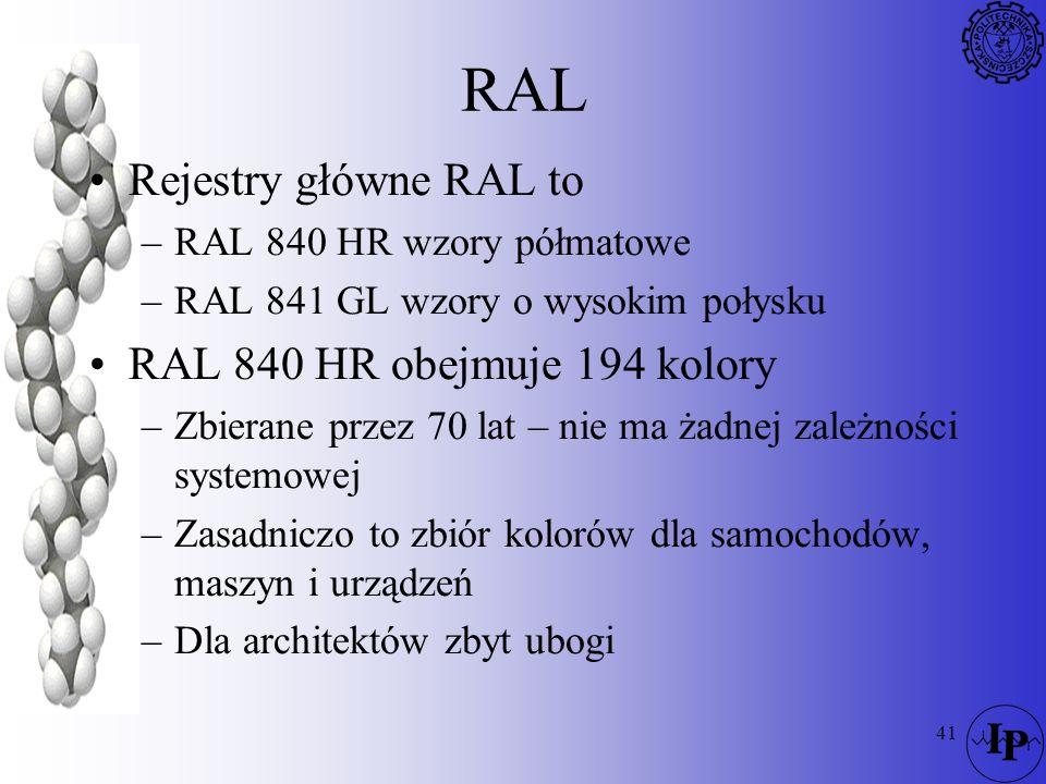 41 RAL Rejestry główne RAL to –RAL 840 HR wzory półmatowe –RAL 841 GL wzory o wysokim połysku RAL 840 HR obejmuje 194 kolory –Zbierane przez 70 lat –