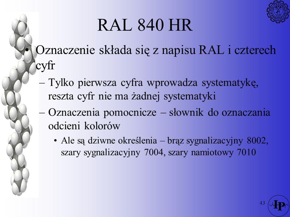 43 RAL 840 HR Oznaczenie składa się z napisu RAL i czterech cyfr –Tylko pierwsza cyfra wprowadza systematykę, reszta cyfr nie ma żadnej systematyki –O