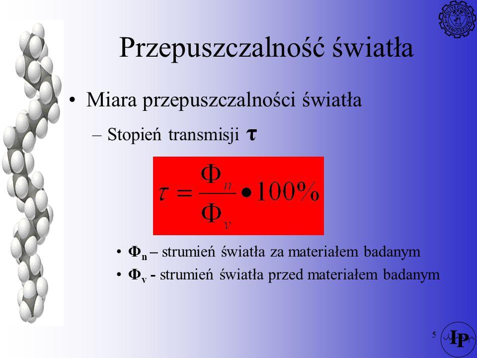 5 Przepuszczalność światła Miara przepuszczalności światła –Stopień transmisji τ Φ n – strumień światła za materiałem badanym Φ v - strumień światła p