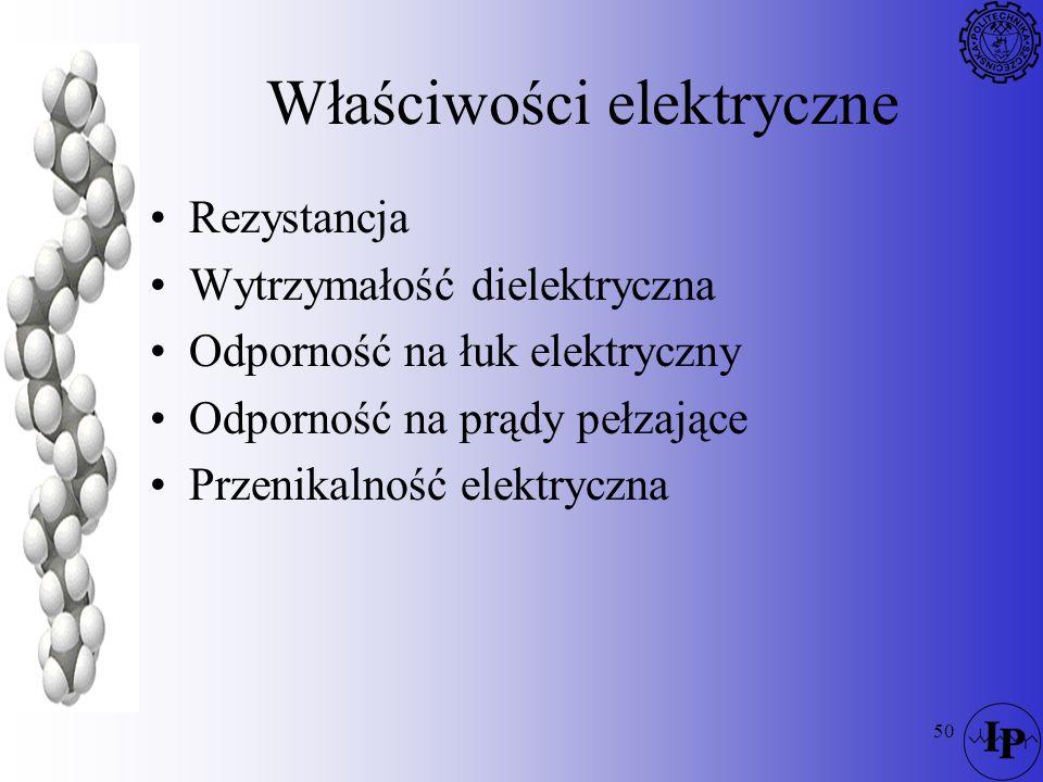 50 Właściwości elektryczne Rezystancja Wytrzymałość dielektryczna Odporność na łuk elektryczny Odporność na prądy pełzające Przenikalność elektryczna
