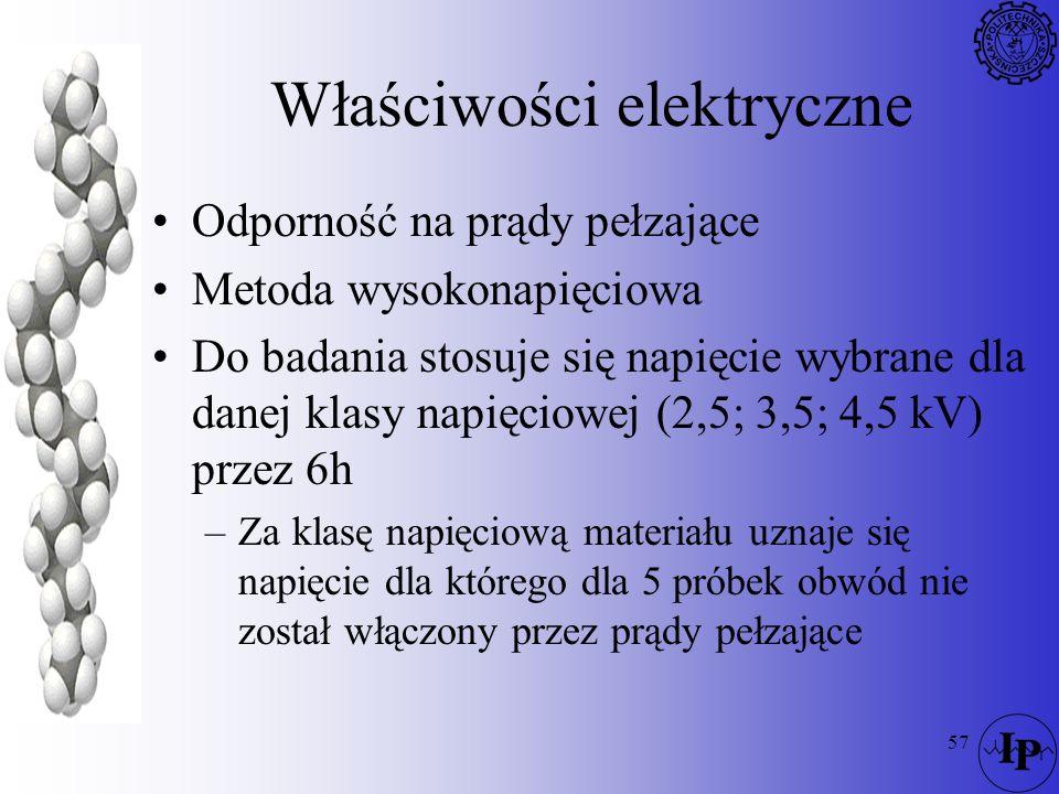 57 Właściwości elektryczne Odporność na prądy pełzające Metoda wysokonapięciowa Do badania stosuje się napięcie wybrane dla danej klasy napięciowej (2