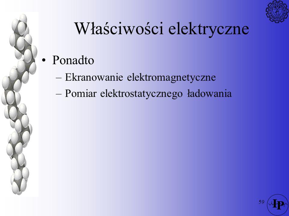 59 Właściwości elektryczne Ponadto –Ekranowanie elektromagnetyczne –Pomiar elektrostatycznego ładowania