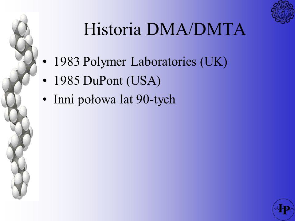 DMA DMA Dynamic Mechanical Analysis Pomiar zmiany właściwości mechanicznych polimeru (moduł, tłumienie) w funkcji –temperatury –czasu –naprężenia –częstotliwości –kombinacji tych parametrów