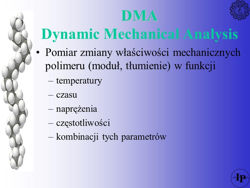 DMA Można obserwować zachowanie materiału w temperaturach użytkowania, poddanego różnym obciążeniom lub obciążeniom zmieniającym się z różną częstotliwością Polimery zmienają sztywność i wytrzymałość z temperaturą.