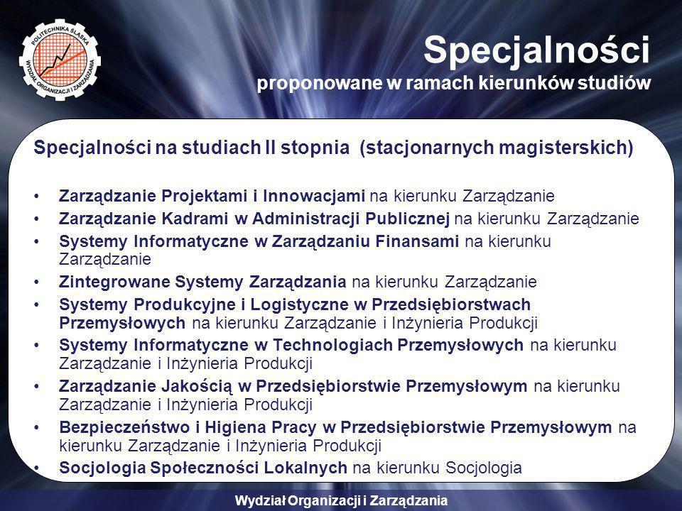 Wydział Organizacji i Zarządzania Specjalności proponowane w ramach kierunków studiów Specjalności na studiach II stopnia (stacjonarnych magisterskich