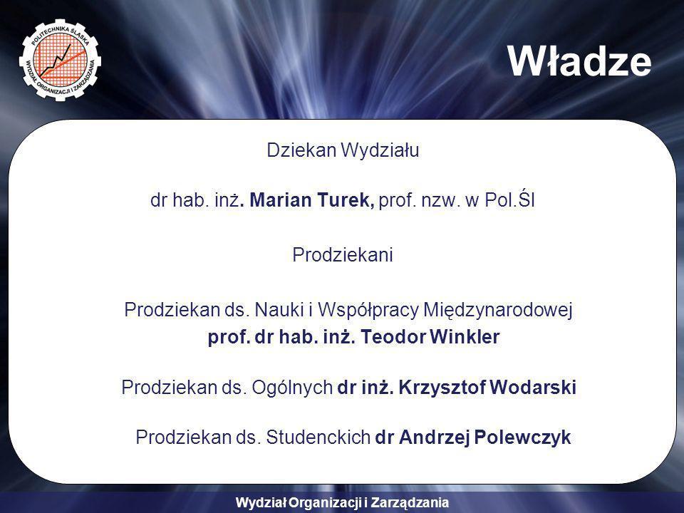 Wydział Organizacji i Zarządzania Władze Dziekan Wydziału dr hab. inż. Marian Turek, prof. nzw. w Pol.Śl Prodziekani Prodziekan ds. Nauki i Współpracy