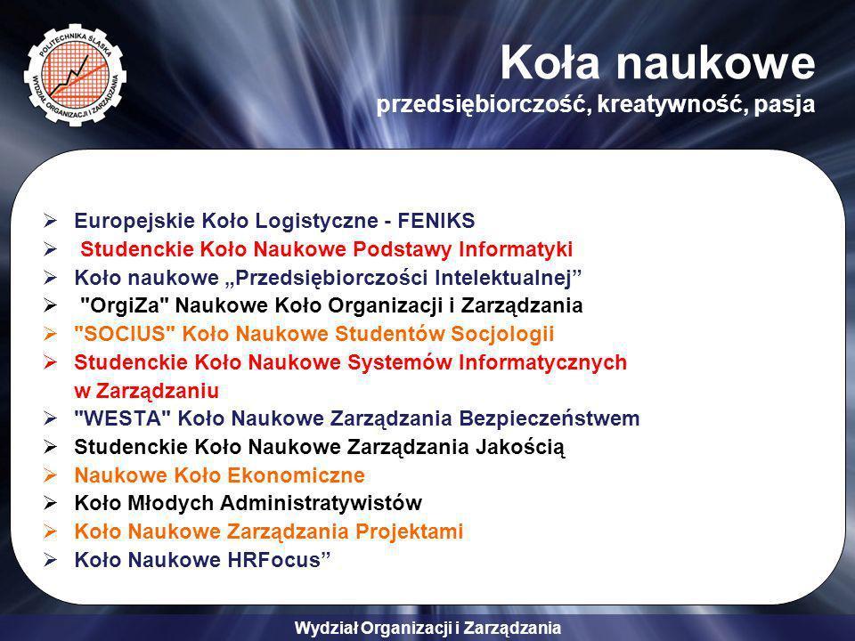Wydział Organizacji i Zarządzania Koła naukowe przedsiębiorczość, kreatywność, pasja Europejskie Koło Logistyczne - FENIKS Studenckie Koło Naukowe Pod