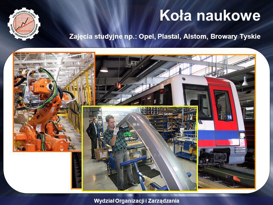 Wydział Organizacji i Zarządzania Koła naukowe Zajęcia studyjne np.: Opel, Plastal, Alstom, Browary Tyskie