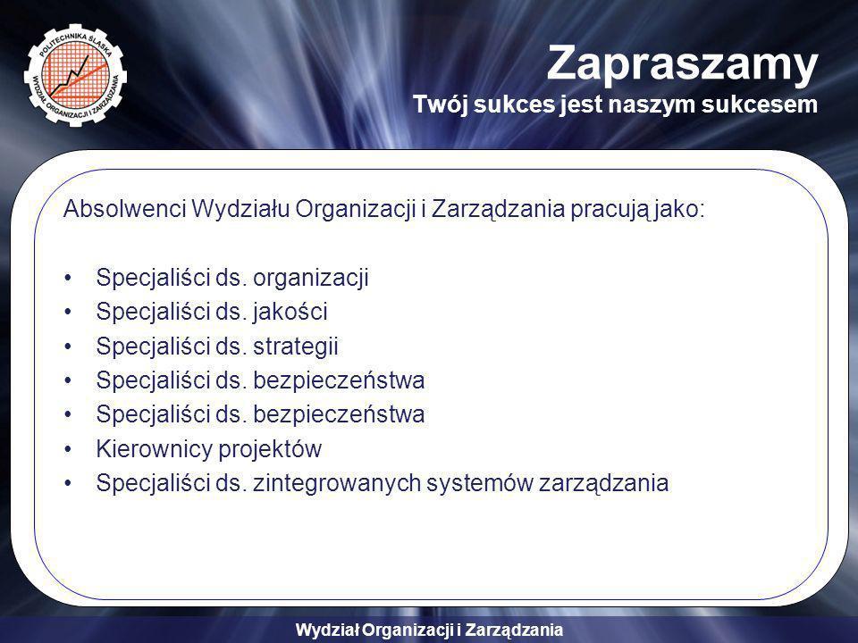 Wydział Organizacji i Zarządzania Zapraszamy Twój sukces jest naszym sukcesem Absolwenci Wydziału Organizacji i Zarządzania pracują jako: Specjaliści