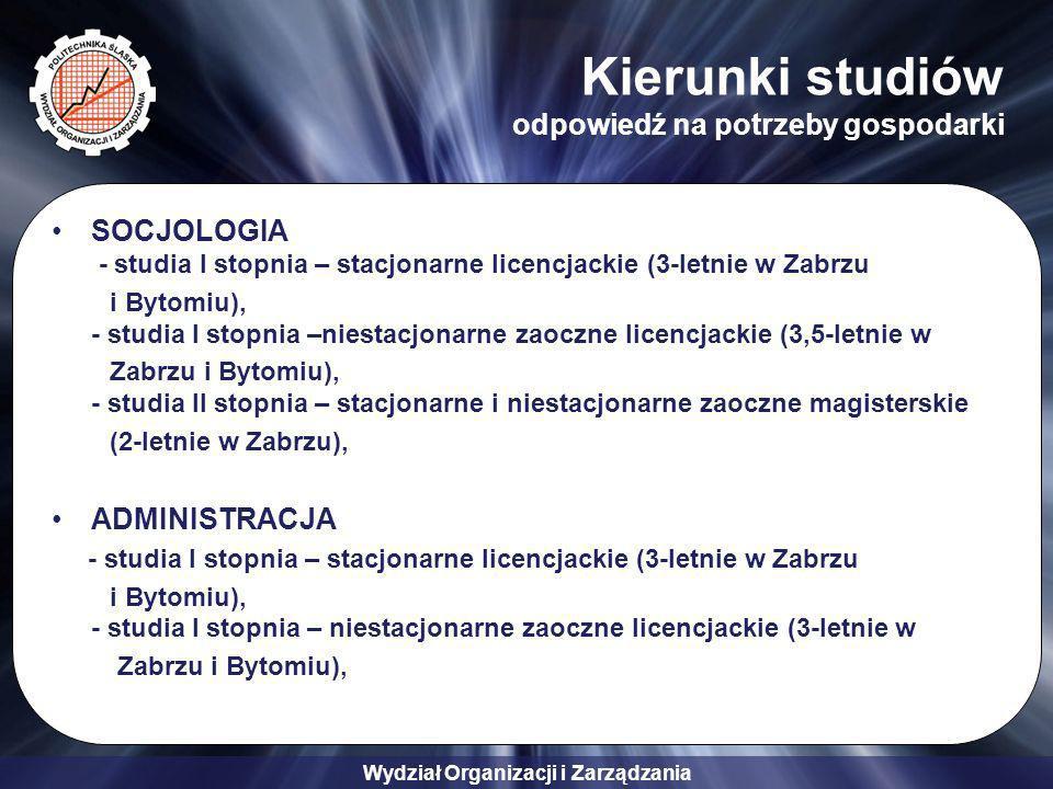 Wydział Organizacji i Zarządzania Kierunki studiów odpowiedź na potrzeby gospodarki SOCJOLOGIA - studia I stopnia – stacjonarne licencjackie (3-letnie