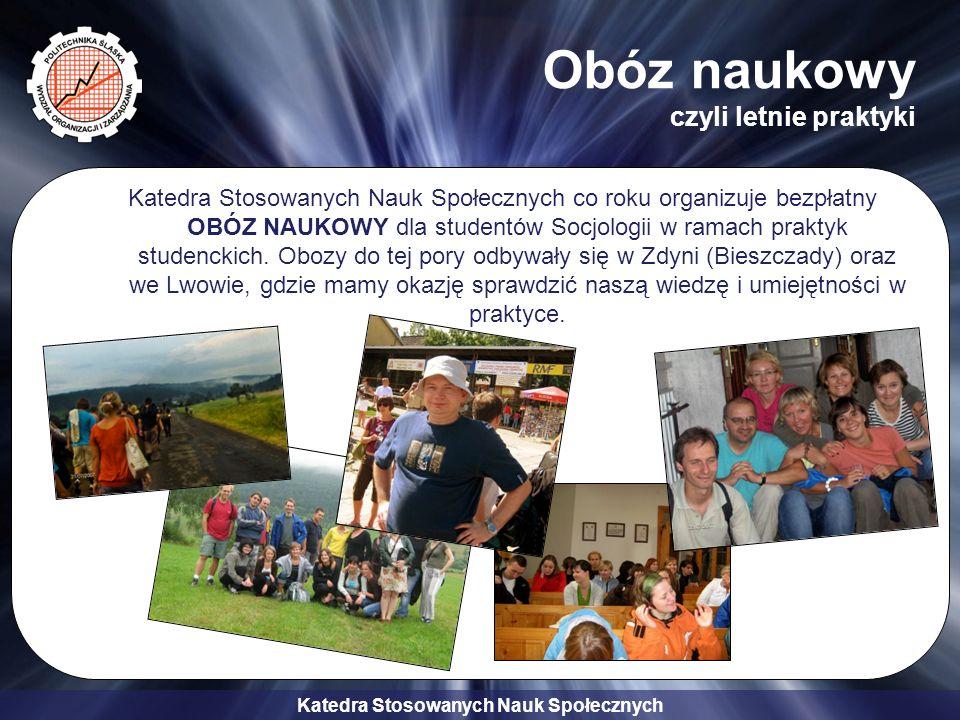 Katedra Stosowanych Nauk Społecznych Obóz naukowy czyli letnie praktyki Katedra Stosowanych Nauk Społecznych co roku organizuje bezpłatny OBÓZ NAUKOWY