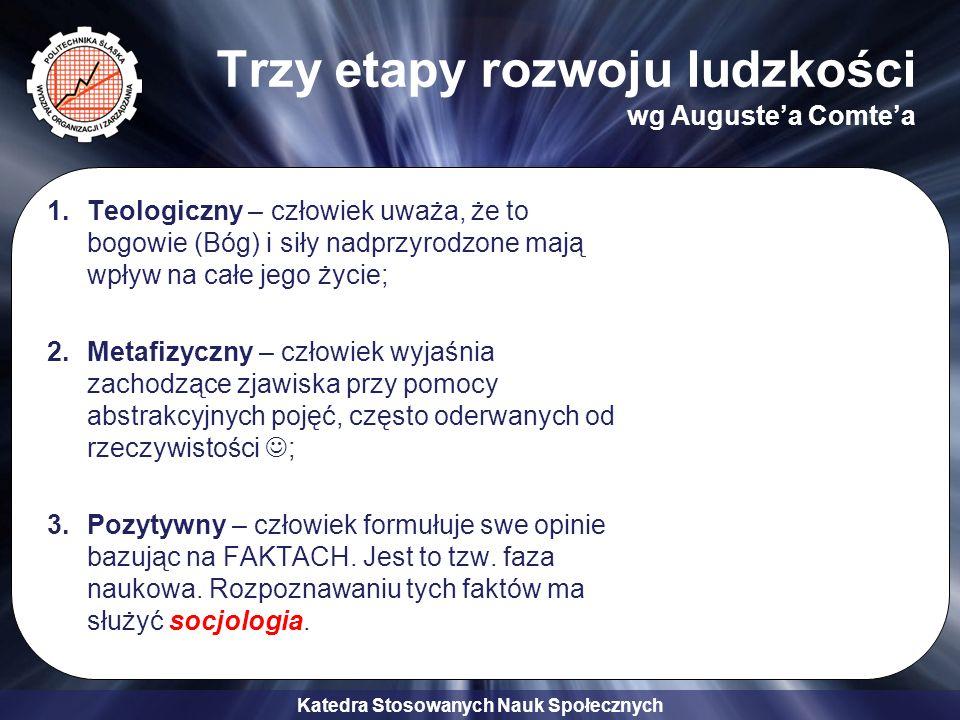 Katedra Stosowanych Nauk Społecznych Dlaczego wybrać socjologię w Politechnice Śląskiej 4.