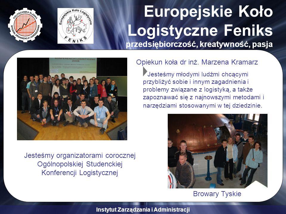 Instytut Zarządzania i Administracji Europejskie Koło Logistyczne Feniks przedsiębiorczość, kreatywność, pasja Browary Tyskie Jesteśmy organizatorami