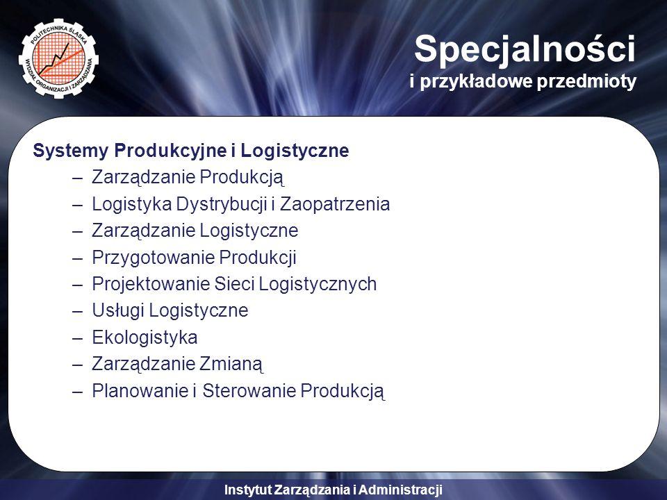 Instytut Zarządzania i Administracji Specjalności i przykładowe przedmioty Systemy Produkcyjne i Logistyczne –Zarządzanie Produkcją –Logistyka Dystryb