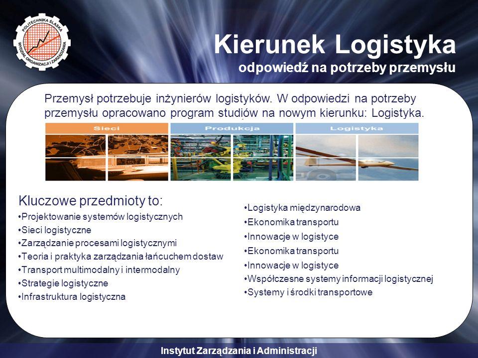 Instytut Zarządzania i Administracji Kierunek Logistyka odpowiedź na potrzeby przemysłu Kluczowe przedmioty to: Projektowanie systemów logistycznych S