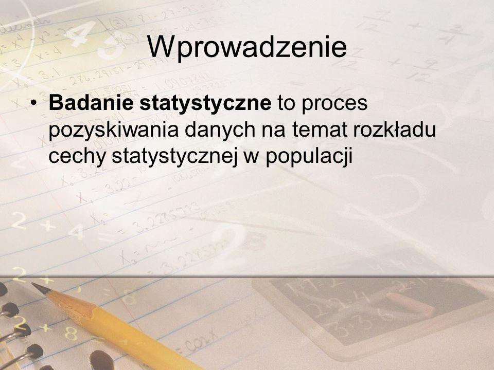 Wprowadzenie Badanie statystyczne to proces pozyskiwania danych na temat rozkładu cechy statystycznej w populacji