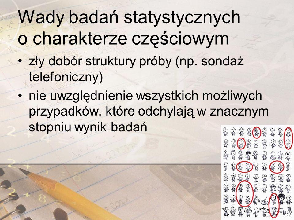 Wady badań statystycznych o charakterze częściowym zły dobór struktury próby (np.