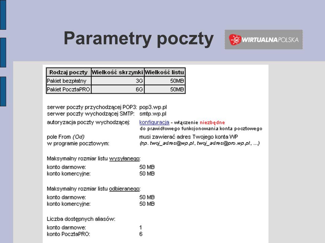 Trzy domeny jednocześnie: o2.pl, tlen.pl i go2.pl Pojemność każdego konta wynosi 1 GB.