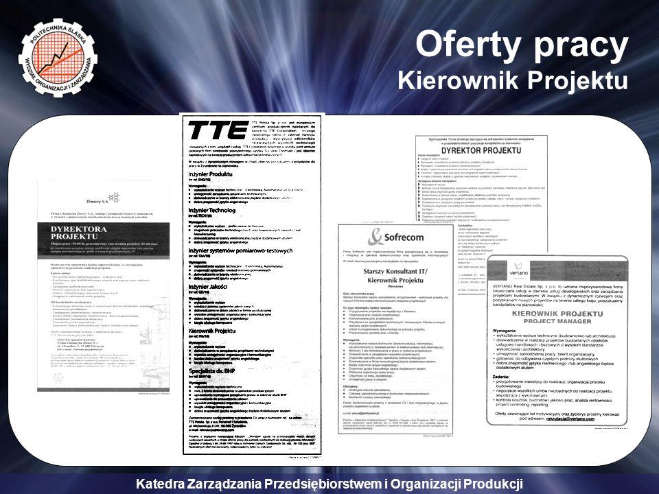 Katedra Zarządzania Przedsiębiorstwem i Organizacji Produkcji Oferty pracy Kierownik Projektu