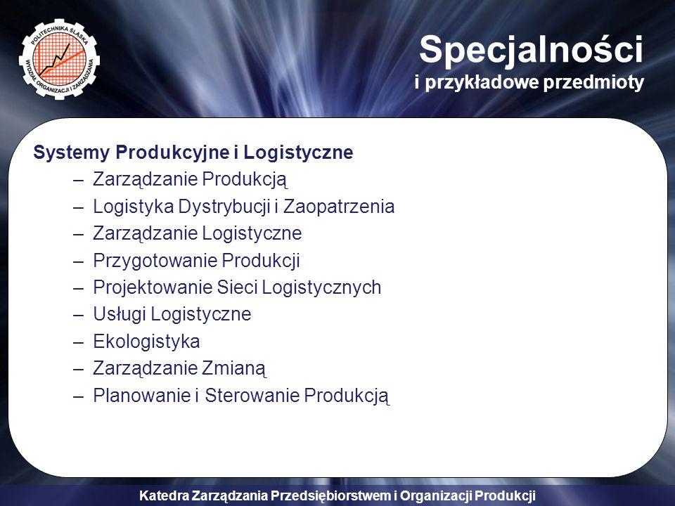 Katedra Zarządzania Przedsiębiorstwem i Organizacji Produkcji Specjalności i przykładowe przedmioty Systemy Produkcyjne i Logistyczne –Zarządzanie Pro