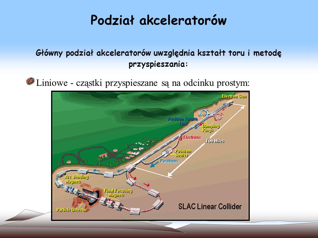 Podział akceleratorów Główny podział akceleratorów uwzględnia kształt toru i metodę przyspieszania: Liniowe - cząstki przyspieszane są na odcinku prostym: