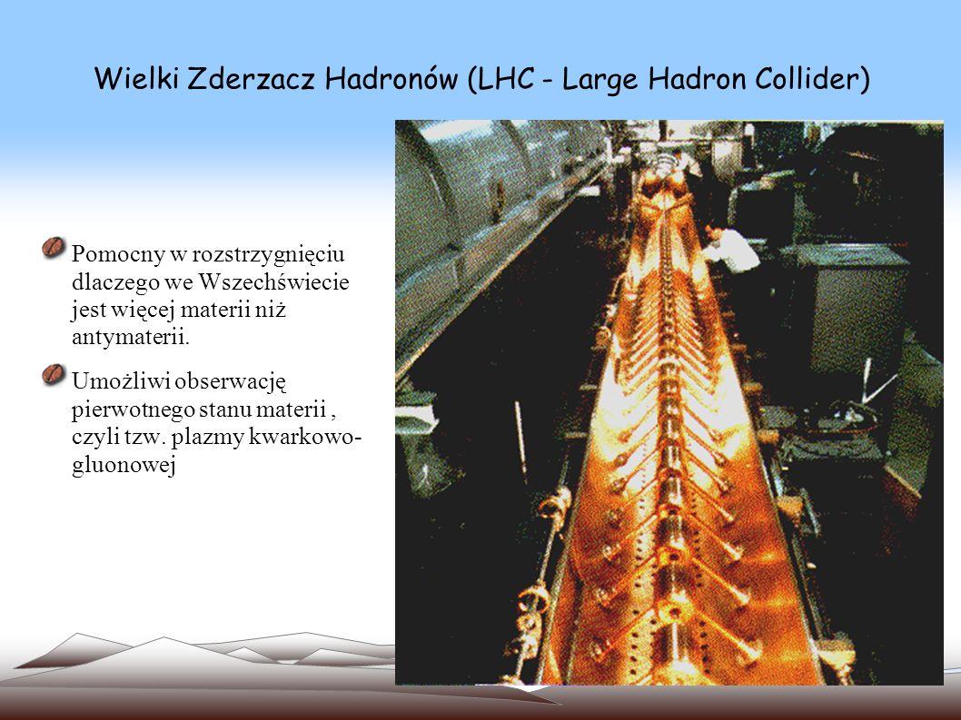Wielki Zderzacz Hadronów (LHC - Large Hadron Collider) Przez ostatnie 75 lat dzięki akceleratorom fizycy odkryli cząstki elementarne i poznali własności materii jądrowej Co 10 lat energia, którą osiągają rozpędzane w nich cząstki, rosła ok.