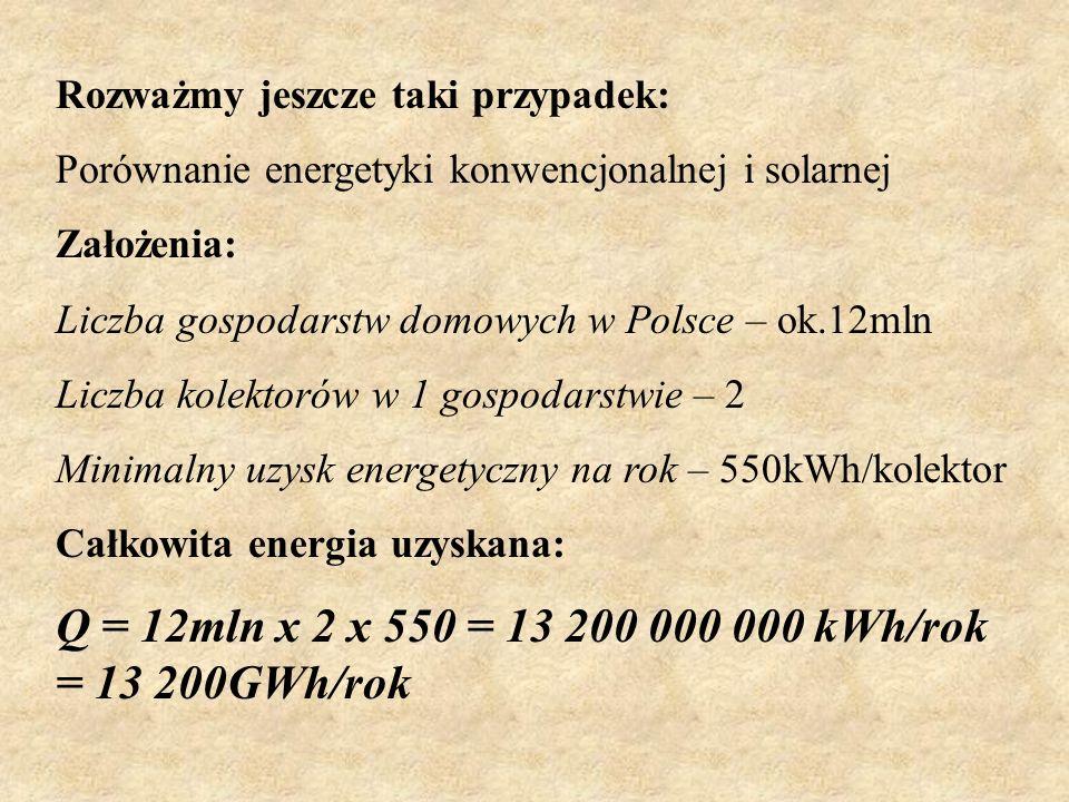 Energia, która pada na obszar polski w ciągu jednego roku jest około 10000 razy większa niż zużywamy. Q1/Q2 = 312000000/31500= 9904,76=10000 Przykład