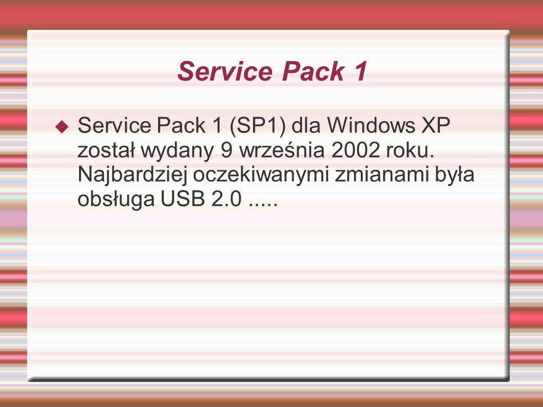 Service Pack 1 Service Pack 1 (SP1) dla Windows XP został wydany 9 września 2002 roku. Najbardziej oczekiwanymi zmianami była obsługa USB 2.0.....