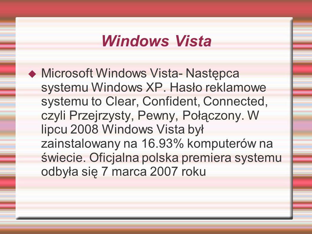 Windows Vista Microsoft Windows Vista- Następca systemu Windows XP. Hasło reklamowe systemu to Clear, Confident, Connected, czyli Przejrzysty, Pewny,