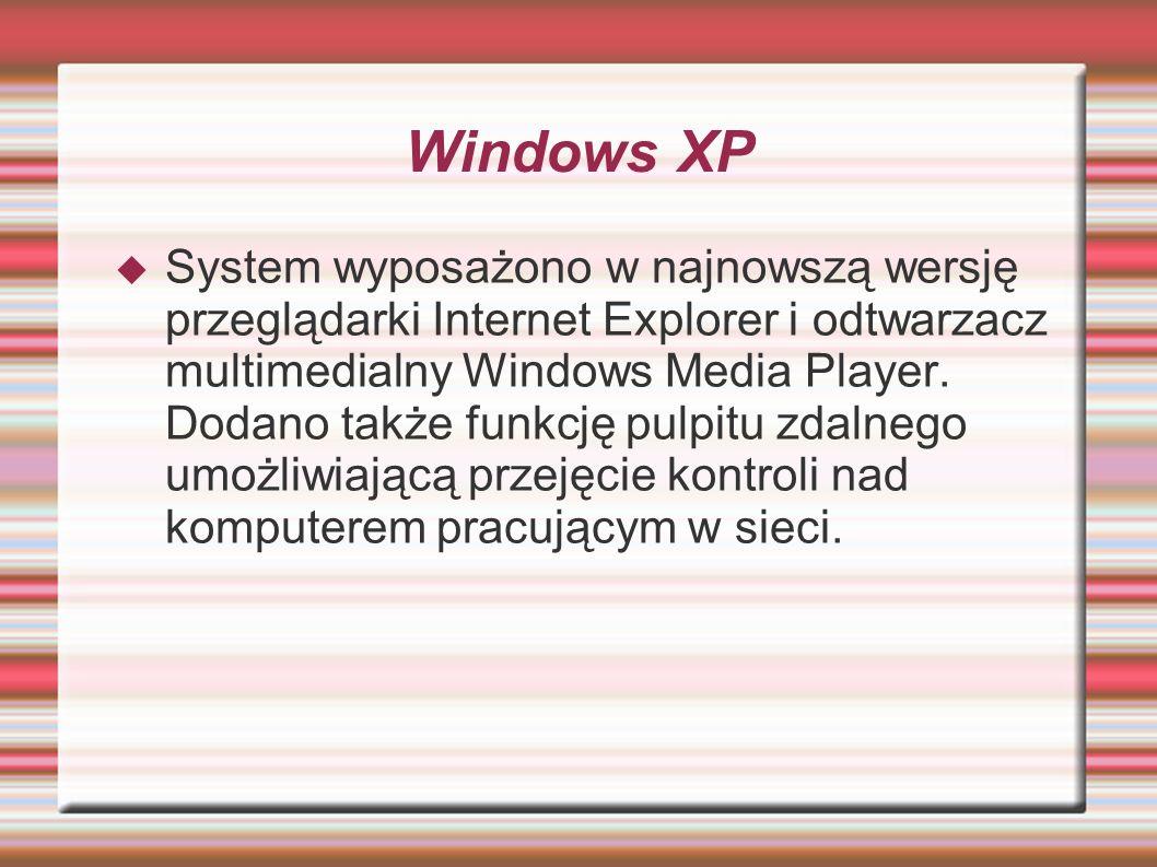 Windows XP System wyposażono w najnowszą wersję przeglądarki Internet Explorer i odtwarzacz multimedialny Windows Media Player. Dodano także funkcję p