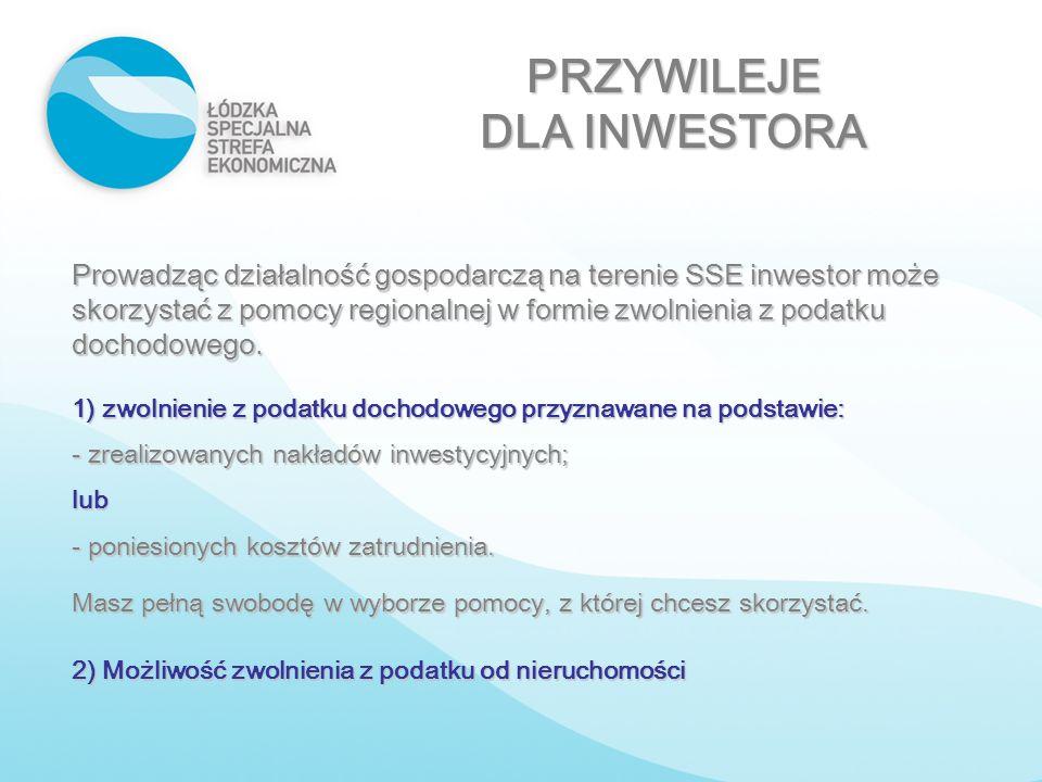 PRZYWILEJE DLA INWESTORA Prowadząc działalność gospodarczą na terenie SSE inwestor może skorzystać z pomocy regionalnej w formie zwolnienia z podatku